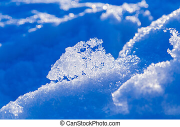 abstract melting snow outdoor background with shiny snowdrift