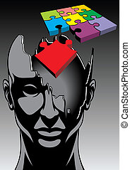 abstract men or woman head and puzzle idea