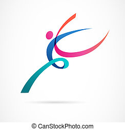 abstract, menselijk cijfer, logo, design., gym, fitness, rennende , trainer, vector, kleurrijke, logo., actief, fitness, sportende, dans, web, pictogram, en, symbool