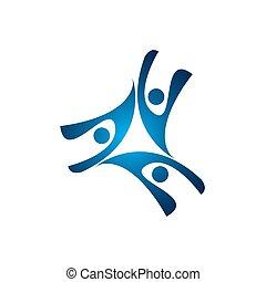 abstract, mensen, groep, vector, logo., ook, vertegenwoordigt, mensen houdend hands, bonding, vriendschap, kinderen, of, geitjes, meldingsbord, en, symbool