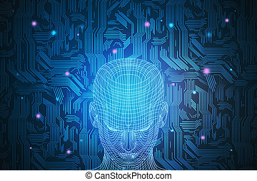Robotics Concept Close Up Of Abstract Digital Human Face On Blue