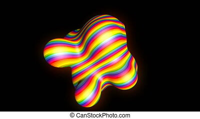 Abstract metaball - organic form with rainbow stripes,...