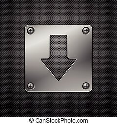 Abstract metal background. Download sign. Vector illustration.