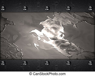 Abstract metal background with a iron plate on edges