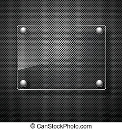 Abstract metal background with glass framework. Vector...