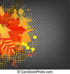 Abstract Metal Background With Orange Blob And Leaf