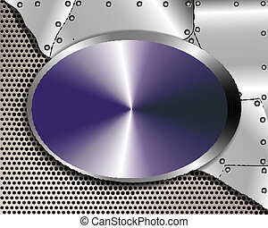 Abstract metal background with oval plate