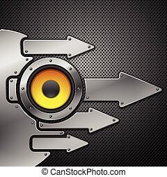 Abstract metal background with speaker. Vector illustration.