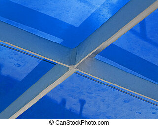 abstract metal construction covered with blue material, industry details
