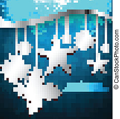 Abstract metal Snowflakes Design blue colorful vector background