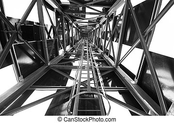 Abstract metal structure in black and white