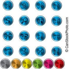 Abstract metal web icon set