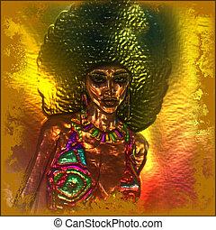abstract., metalen, retro, afro