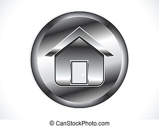 abstract metalic shiny home icon ve