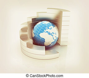 Abstract metall structure with blue earth in the center . 3D illustration. Vintage style.