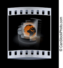 Abstract metall structure with blue earth in the center . The film strip
