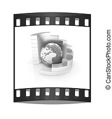 Abstract metall structure with blue earth in the center. The film strip