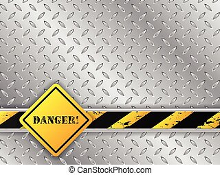 Abstract metallic background with traffic sign