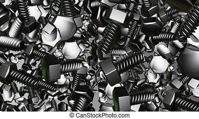 Abstract metallic bolts