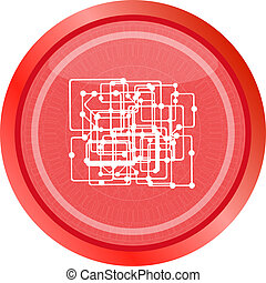 abstract metro circle glossy web icon on white background