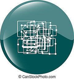 abstract metro green circle glossy web icon on white background