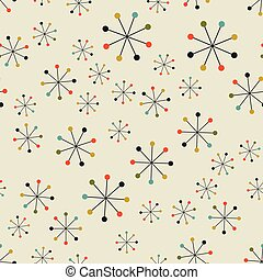 Abstract mid century space pattern - Vector seamless mid...