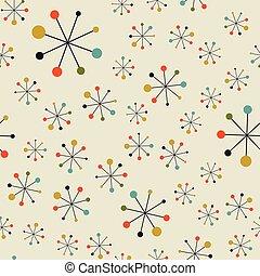 Vector seamless mid century absctract geometric pattern. Space retro design.