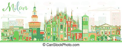 Abstract Milan Skyline with Color Landmarks. Vector...