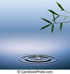 abstract, milieu, achtergronden, met, bamboe, en, water, droplets