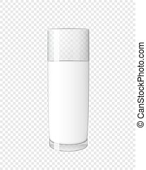 Abstract Milk Glass on Transparent Background Vector Illustration
