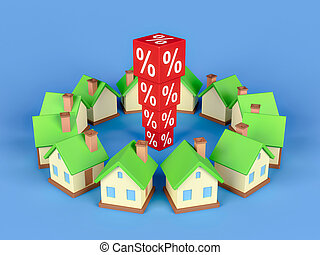 Abstract Miniature House And Red Percentage Blocks. 3d rendering.