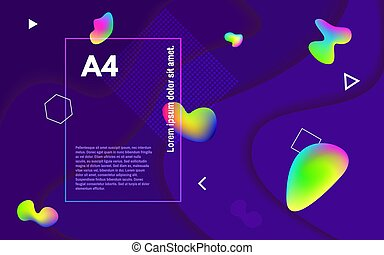 Abstract minimal background. Colorful fluid shapes. Colored bubbles on dark backdrop. Geometric elements and multi layers. Futuristic composition. Vector illustration