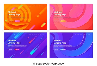 Abstract Minimal Geometric Cover Landing Page Set. Colorful Futuristic Bright Layout for Modern Dynamic Digital Element Concept for Website or Web Page. Flat Cartoon Vector Illustration