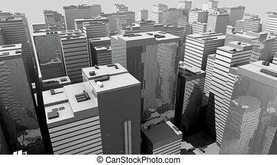 abstract, model, futuristisch, stad
