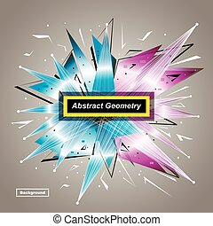 Abstract model. Minimalistic fashion backdrop design. Patch space star icon. Explosion light font texture. Modern ad banner. Triangle connection fiber. Blue, pink laser ray ornament. Shiny vector art