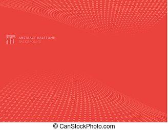 abstract, model, punten, rood, kleur, halftone, perspectief, achtergrond.