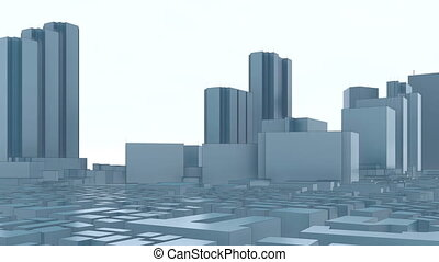 Abstract modern 3D city Tokyo skyscrapers 4K - First...