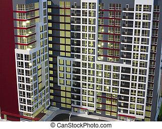 Abstract modern apartment house architecture concept