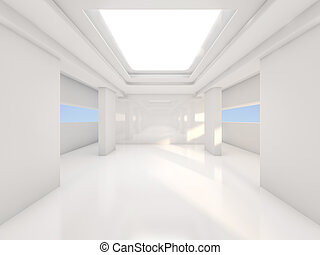 Abstract modern architecture background, empty open space interior. 3D