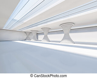 Abstract modern architecture background, empty white open ...