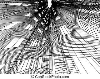 Abstract modern building. 3D render