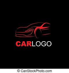 Abstract Modern Car Logo Line Art Red on Black Background