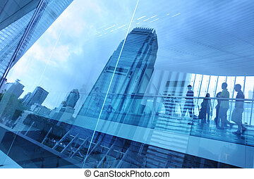 Abstract modern city background with people walking over...