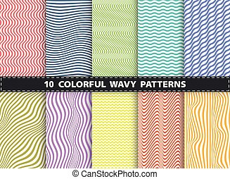 Abstract modern colorful stripe line of wavy set pattern design collection. Decorating for book, ad, print, magazine, annual report cover.
