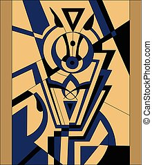 Abstract modern composition in yellow and blue color