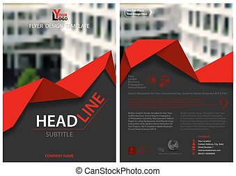 Flyer Template with Red Geometric Ribbon