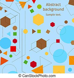 Abstract modern geometric blue background vector design with lines and shapes elements and text. Abstractive constructivist style