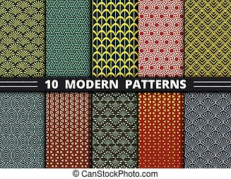 Abstract modern geometric pattern style of colorful set background. illustration vector eps10