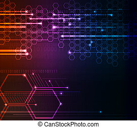 Stylized abstract background with digital symbols and glowing elements