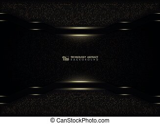 Abstract modern gold glitters technology on dark template background. illustration vector eps10